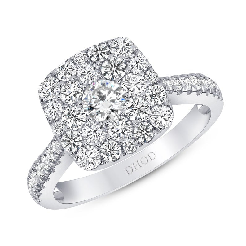 14K White Gold Cushion Shape Halo Cluster Engagement Ring