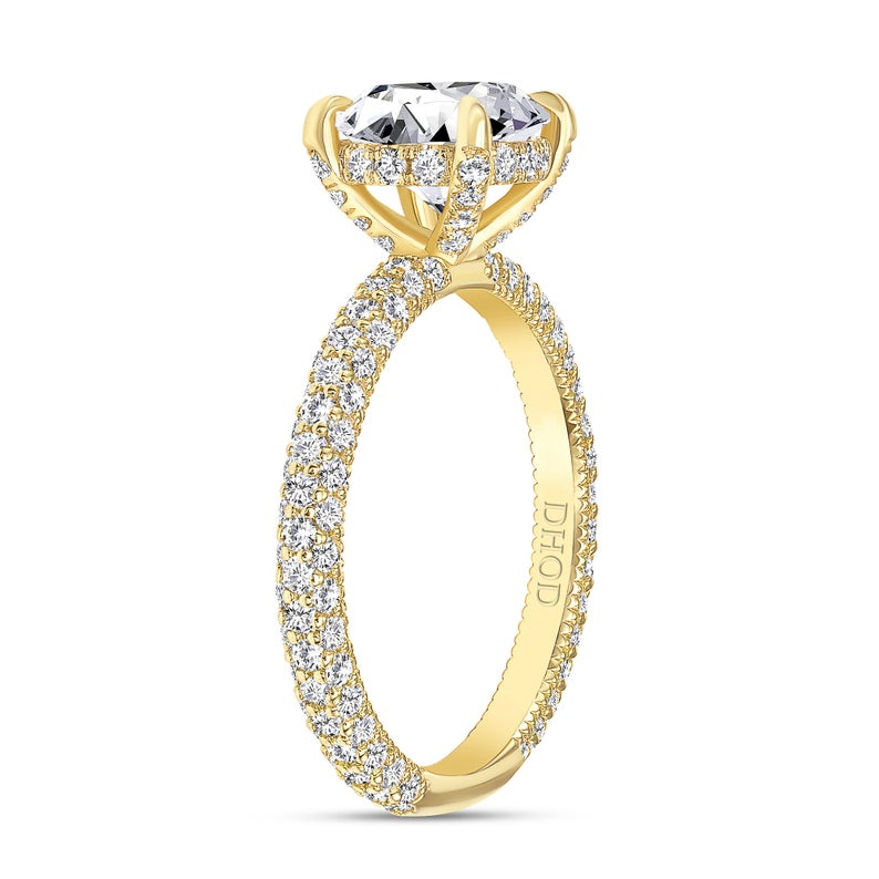 14K Gold Diamond Under Halo and Prongs with 2 Carat Round Brilliant Forever One Moissanite Engagement Ring
