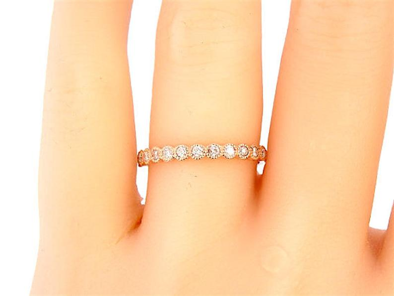 14K Gold Diamond Antique Style Art Deco Bezel Set Eternity Band