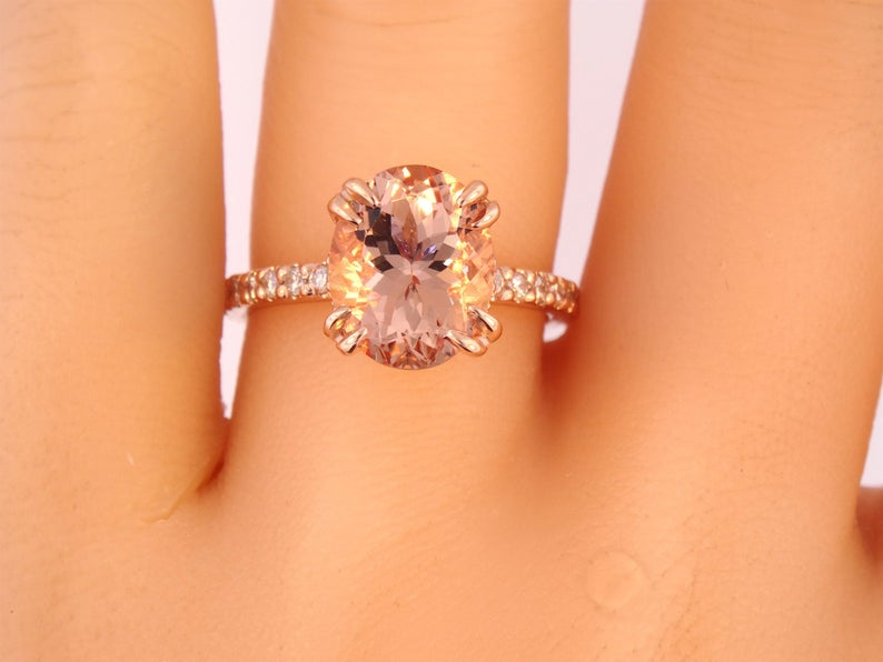 14K Gold Diamond Under Halo with 2.54 Carat Oval Morganite Engagement Ring.