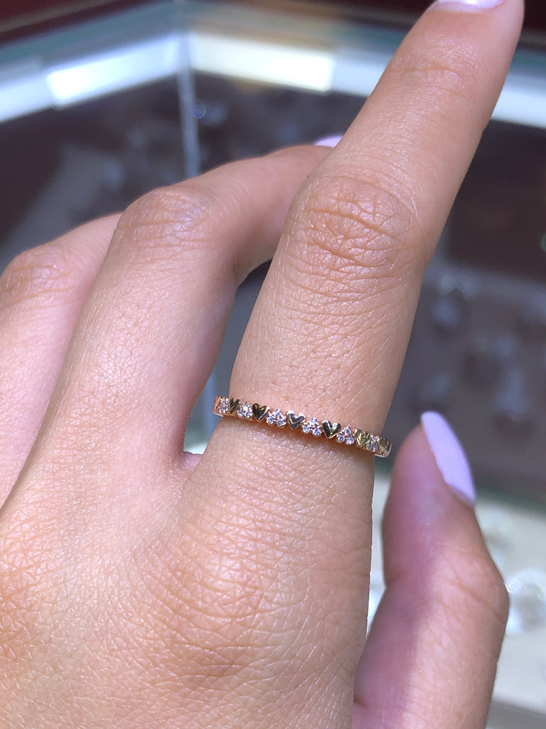 14K Gold and Diamond Heart Band
