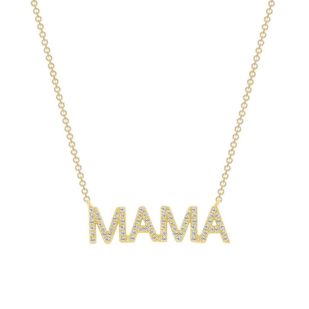 14K Gold MAMA Diamond Pendant
