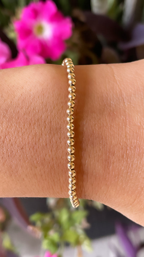 14K Yellow Gold 3MM Ball Stretch Bracelet