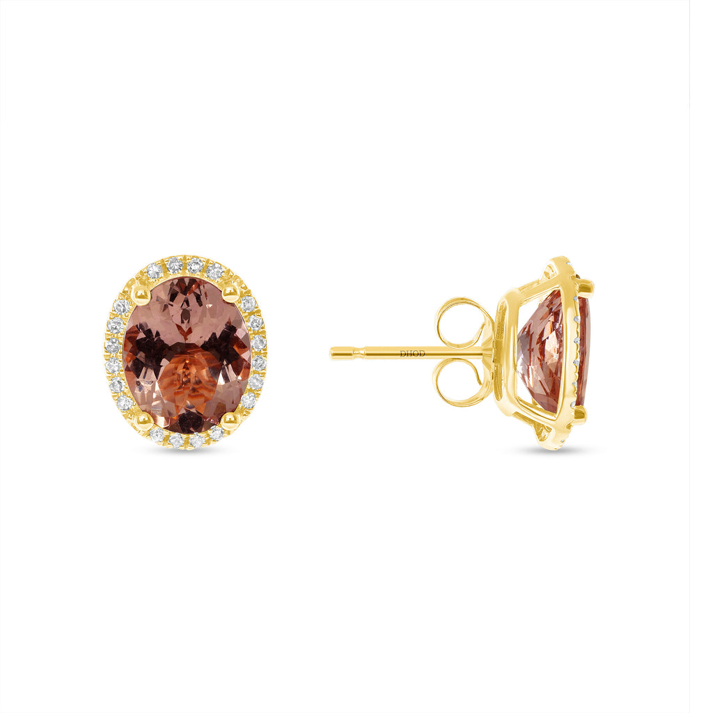 14K Gold Diamond Halo Oval Morganite Earrings