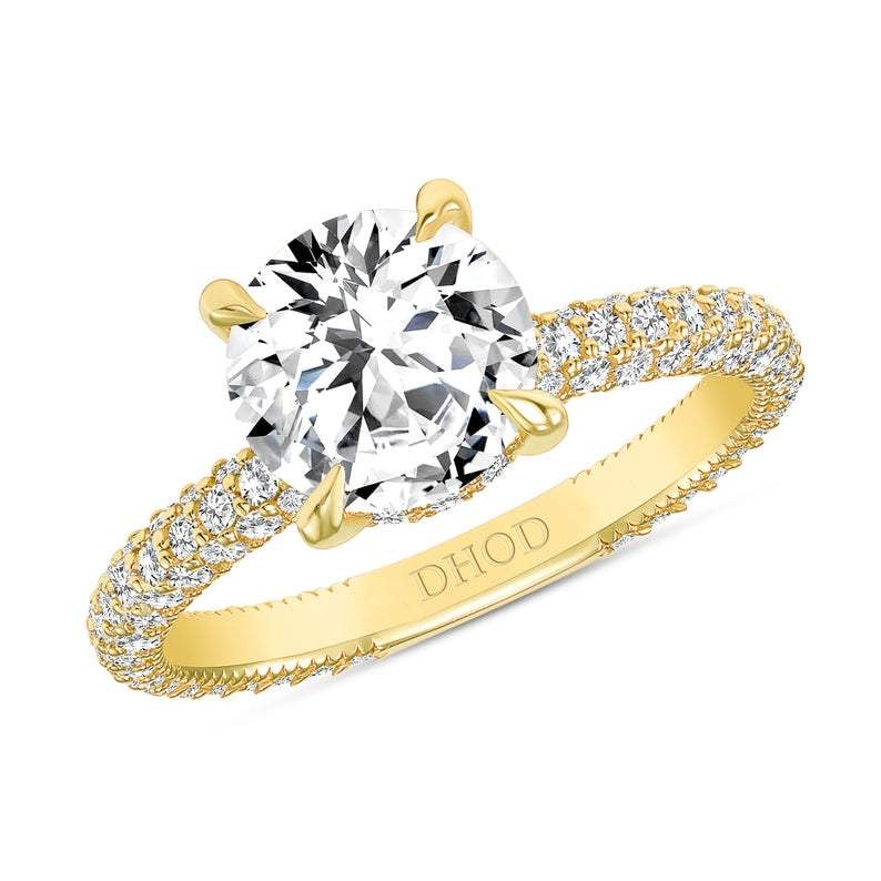 14K Gold Diamond Double Under Halo Ring with 1.91 Carat Round Forever One Moissanite Engagement Ring