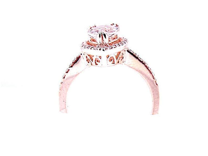 14K Gold Diamond Halo with 1.24 Carat Pear Morganite Engagement Ring