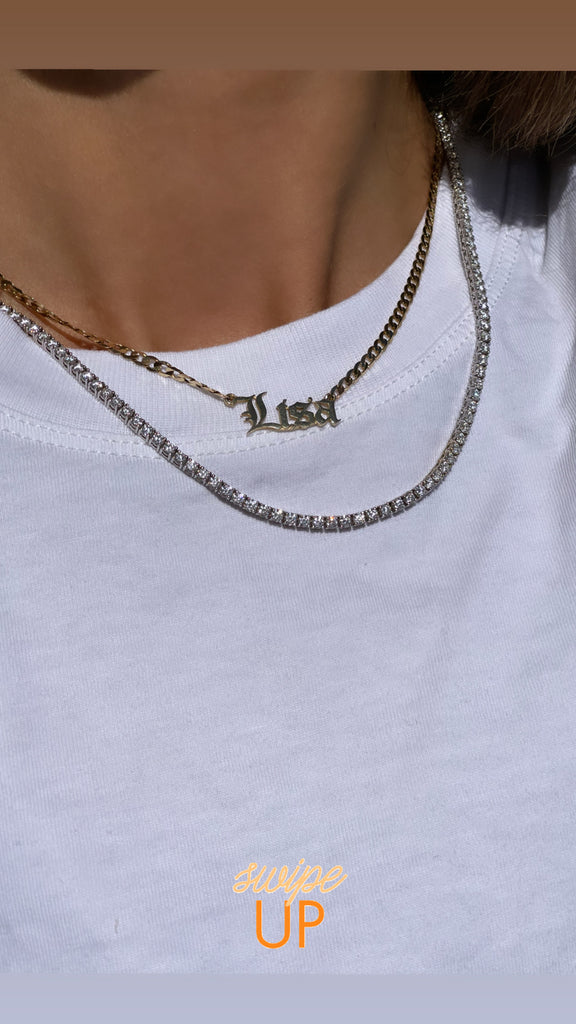 14K Yellow Gold Cuban Old English Name Necklace