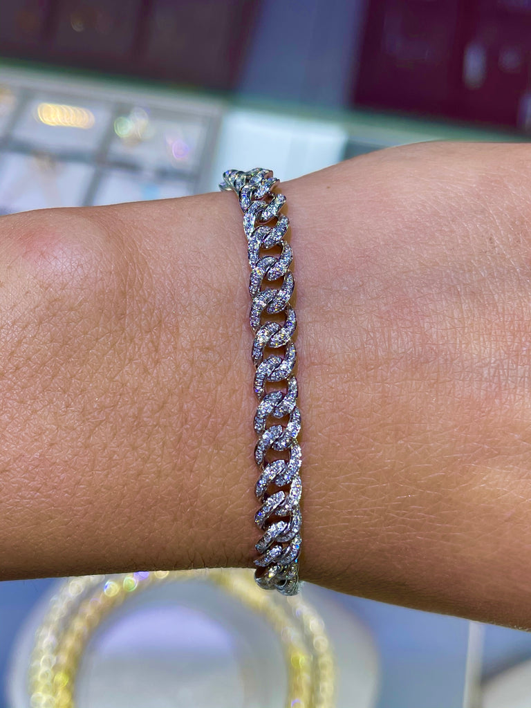 14K Gold Mini Diamond Cuban Bracelet