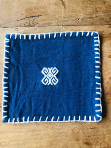 Hand embroidered coaster set, NAVY BLUE Made in Mexico