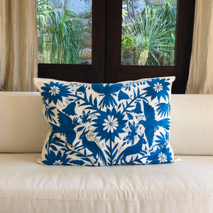 XL Otomi pillow cover -Cobalt