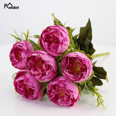Pink Silk Peonies Bouquet Flowers