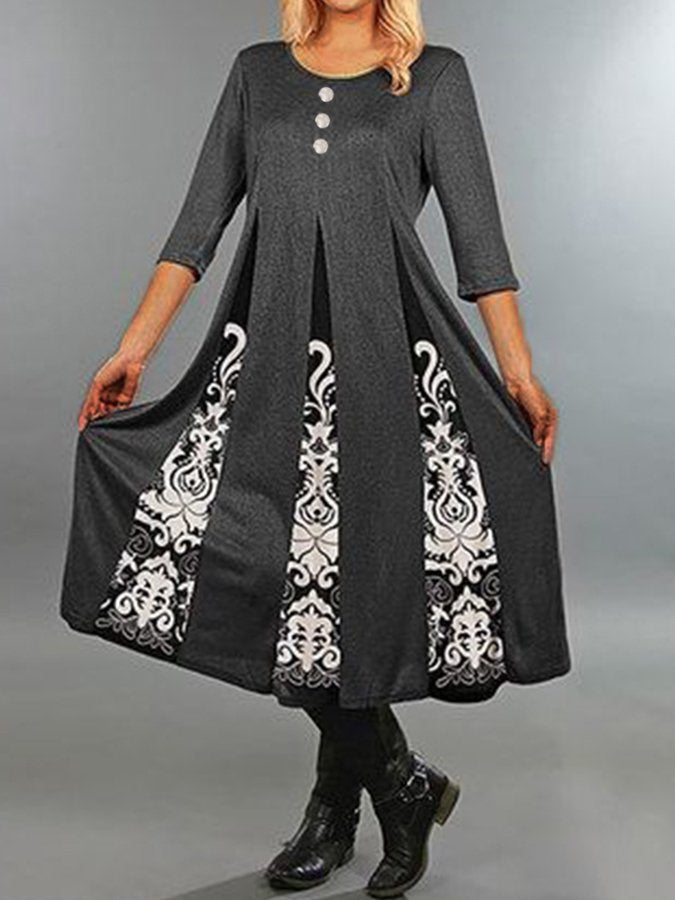 Gray Swing Casual Floral Crew Neck Dresses