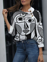 Abstract Long Sleeve Shift Top