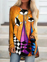 As Picture Long Sleeve Cotton Abstract Shift Shirts & Tops