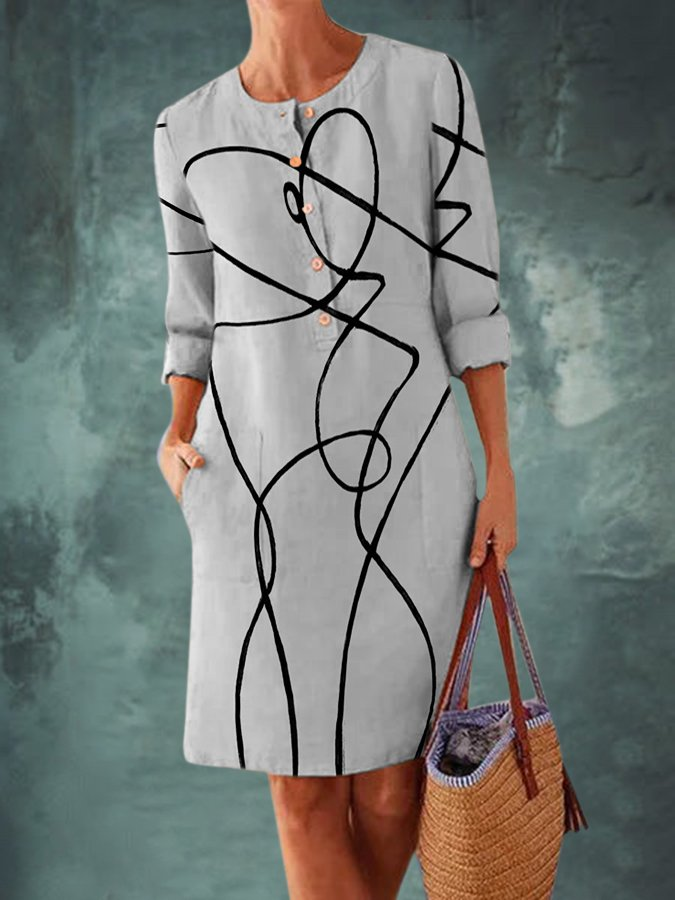 Gray Crew Neck Shift Long Sleeve Dresses