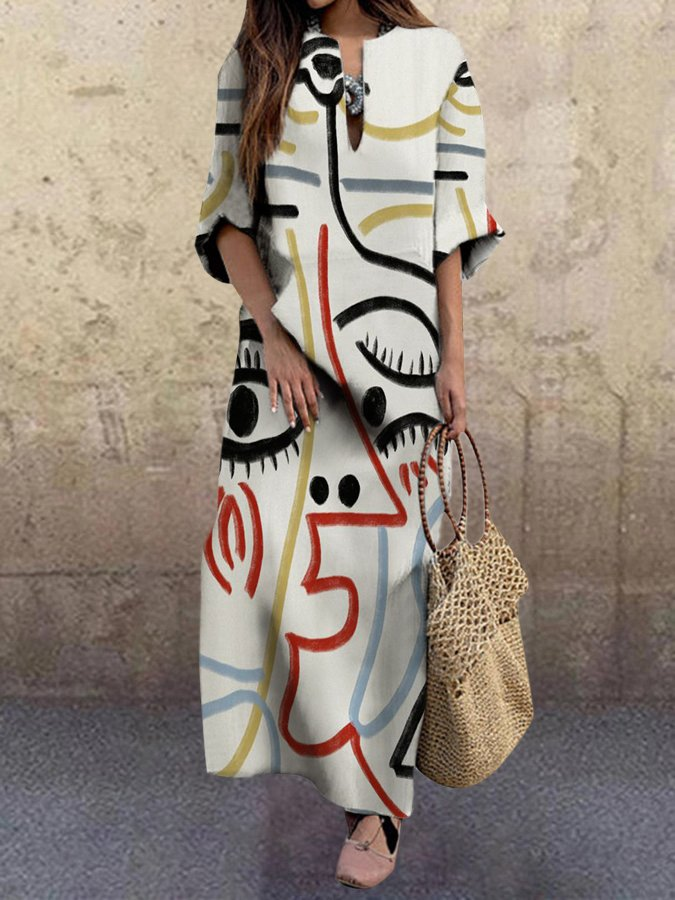 Graphic Printed Shift Long Sleeve Dress