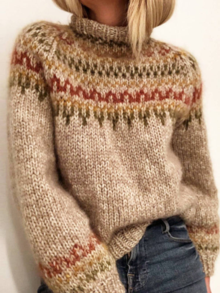 Knitted Long Sleeve Patchwork Sweater