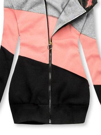 Color-Block Holiday Long Sleeve Shift Hooded Jacket