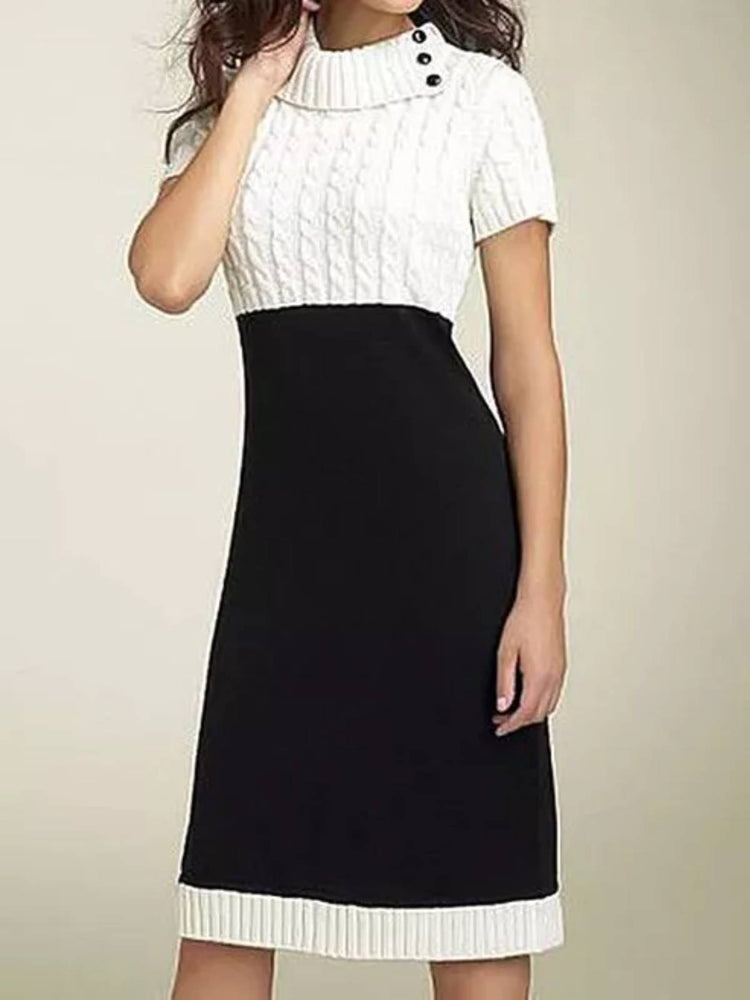 Elegant Color Block Sweater Round Neckline Bodycon Dress