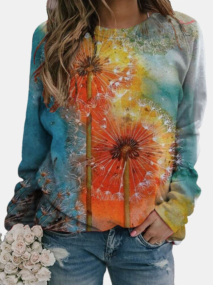 Large size Abstract Long Sleeve Cotton-Blend Crew Neck Tops