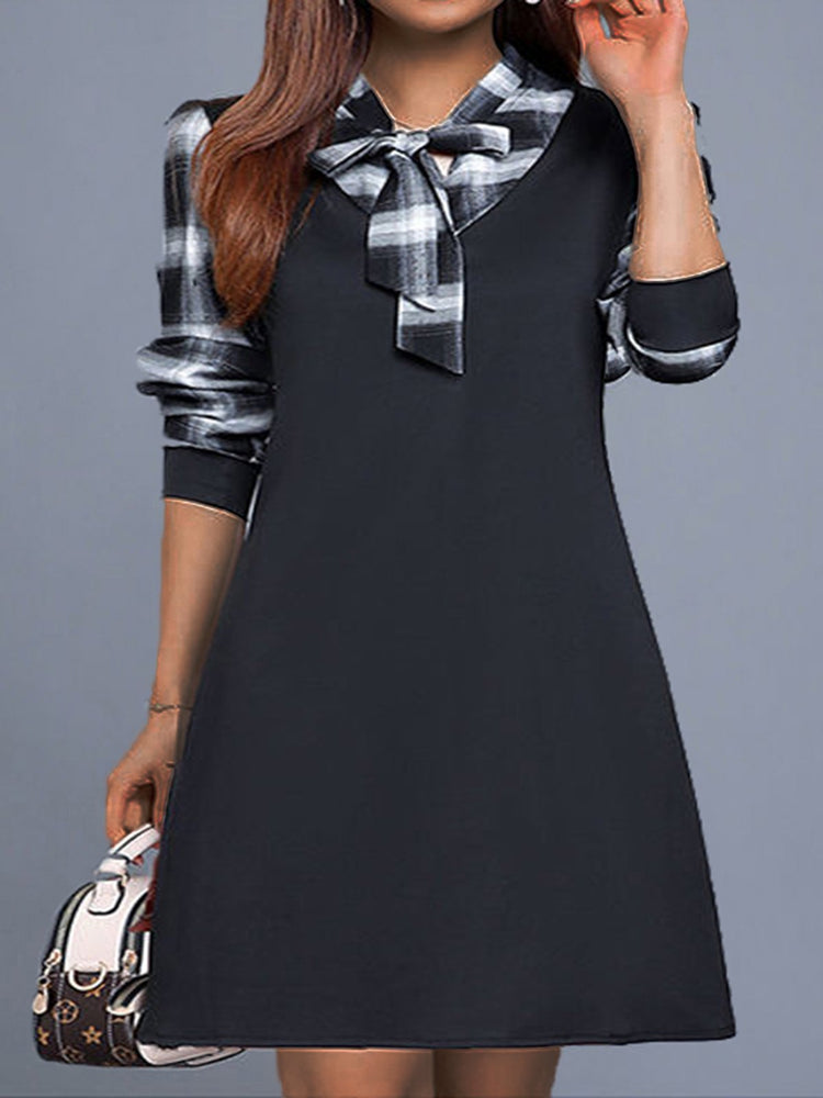 Long Sleeve V Neck Checkered/plaid Casual Dresses