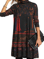 Women's Casual Floral Tunic High Neckline Dress