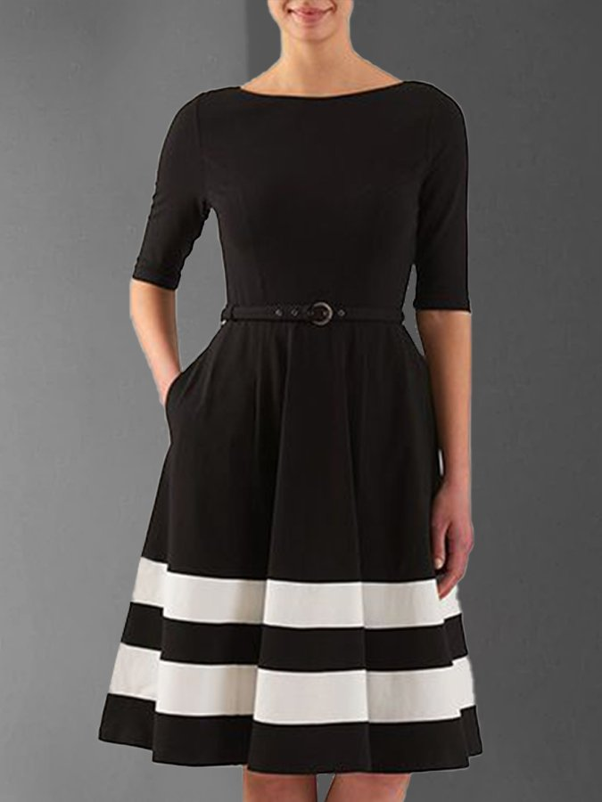Black Casual Crew Neck Solid Dresses