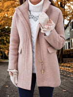Pink Plain Casual Turtleneck Shift Outerwear