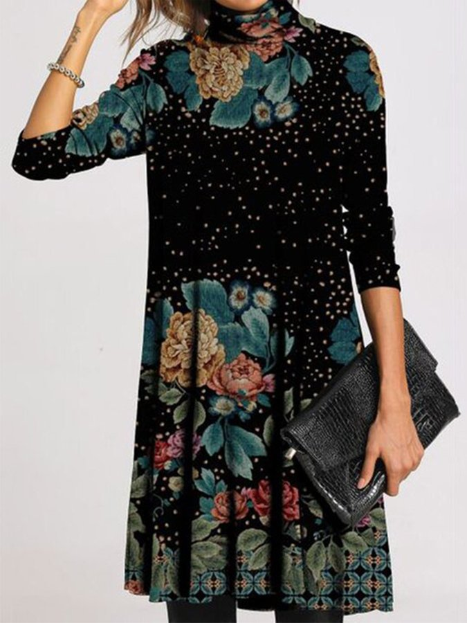 Women Long Sleeve Printed Floral Dresses