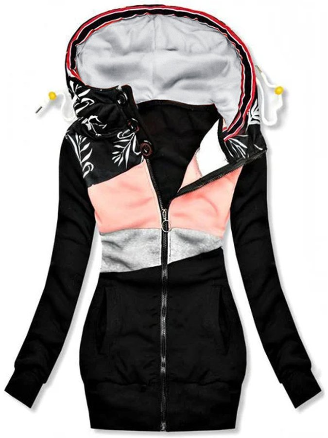 Women Holiday Patchwork Extended Hooded Jacket