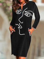 Black Crew Neck Long Sleeve Dresses