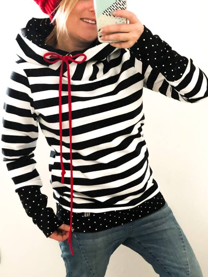 Black Stripe Hoodie Long Sleeve Shift Sweatshirt