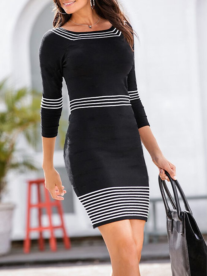 Stripe  Printed  Sweater Dress
