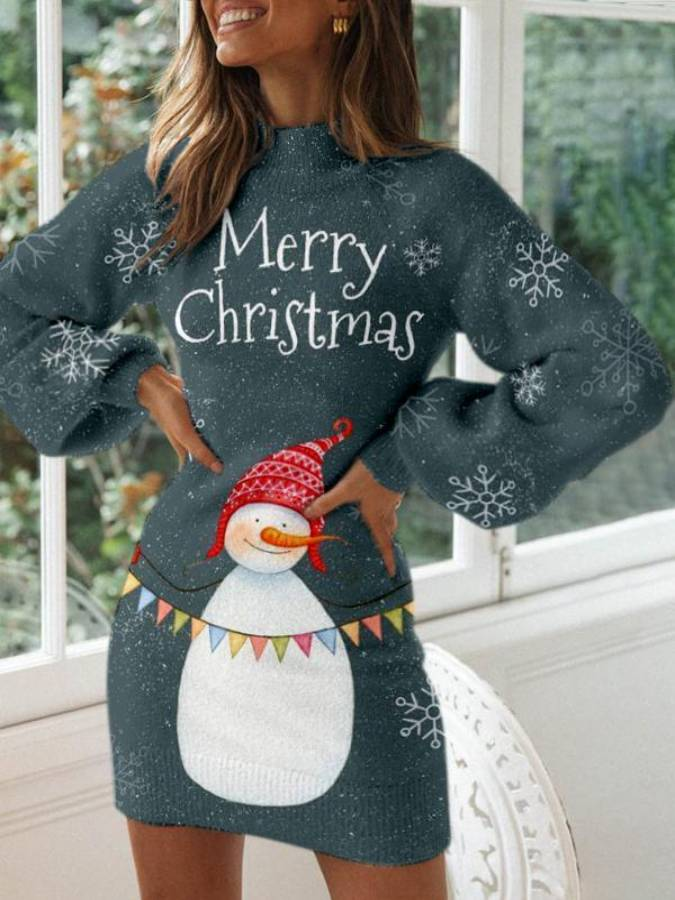 Christmas Cotton Turtleneck Long Sleeve Dresses