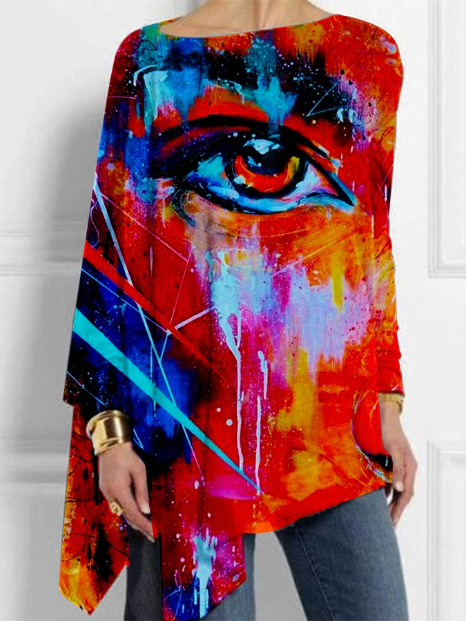 Multicolor Abstract Long Sleeve Shirts & Tops
