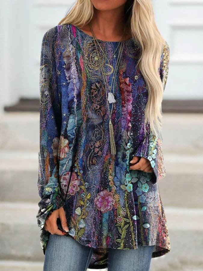Long Sleeve Floral Cotton-Blend Tops