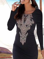 Black Long Sleeve Crew Neck Vintage Bodycon Dresses