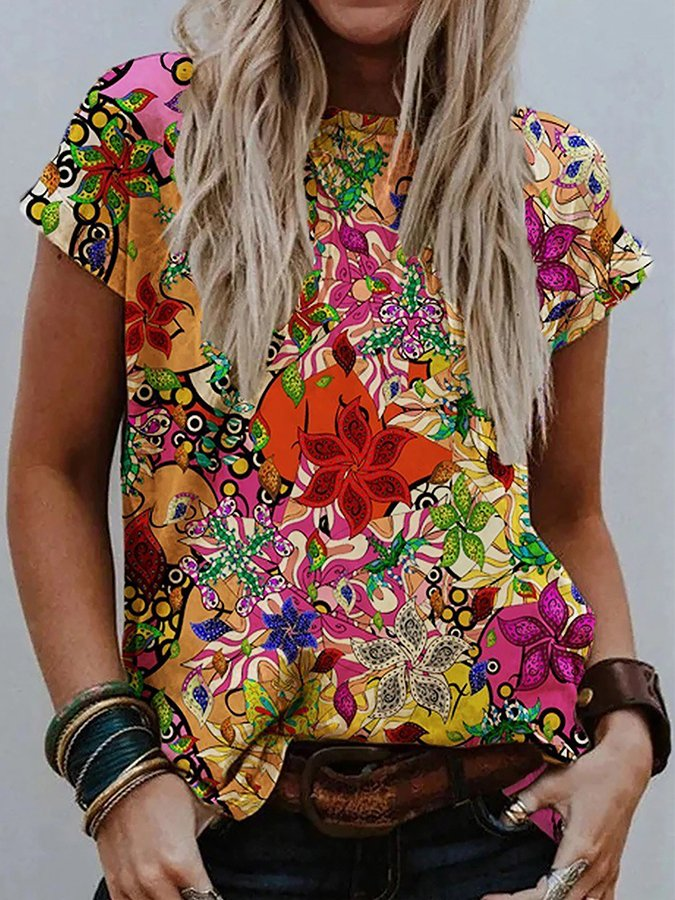 Casual Printed Crew Neck Floral Shirts & Tops