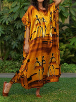 Brown Abstract Crew Neck 3/4 Sleeve Dresses