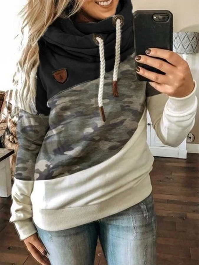 Black Long Sleeve Hoodie Printed Sweatshirt