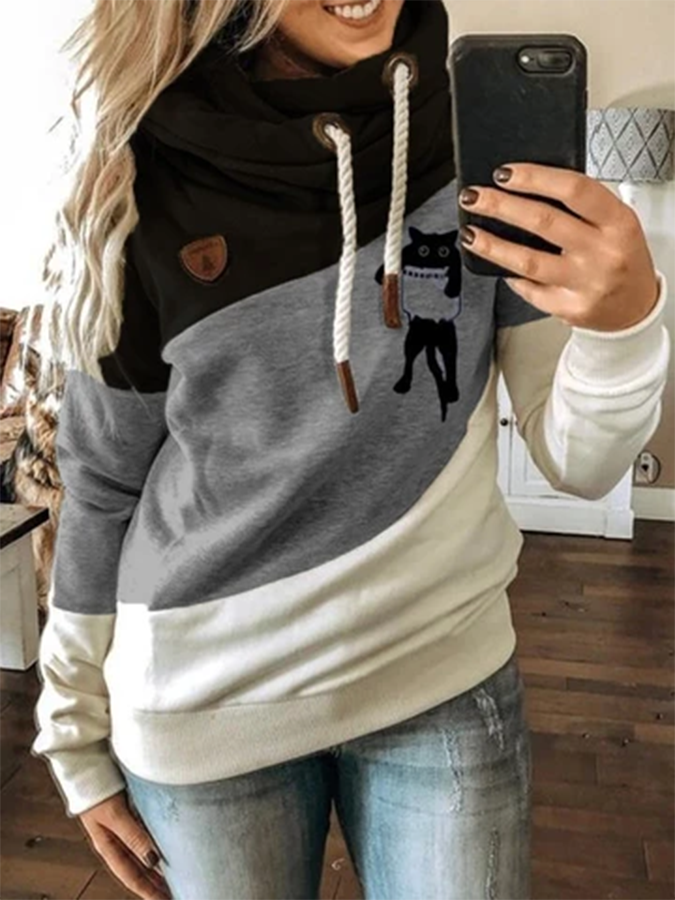 Black-Grey Animal Paneled Shift Casual Sweatshirt