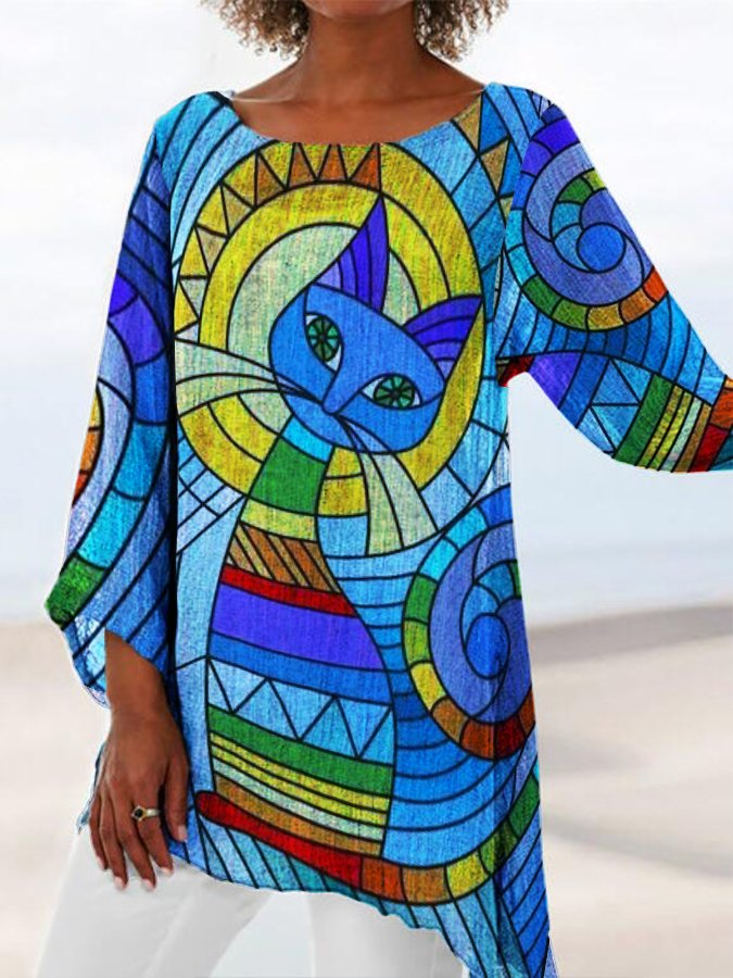 Blue Crew Neck Animal Long Sleeve Printed Shirts & Tops