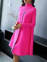 Casual Long Sleeve Stand Collar Plain Dresses