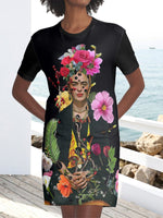 Black Floral Printed Pockets Short Sleeve Casual T-shirt Dresses