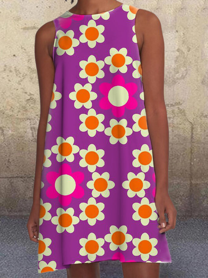 Purple Floral Printed Pockets A-Line Sleeveless Casual Dresses