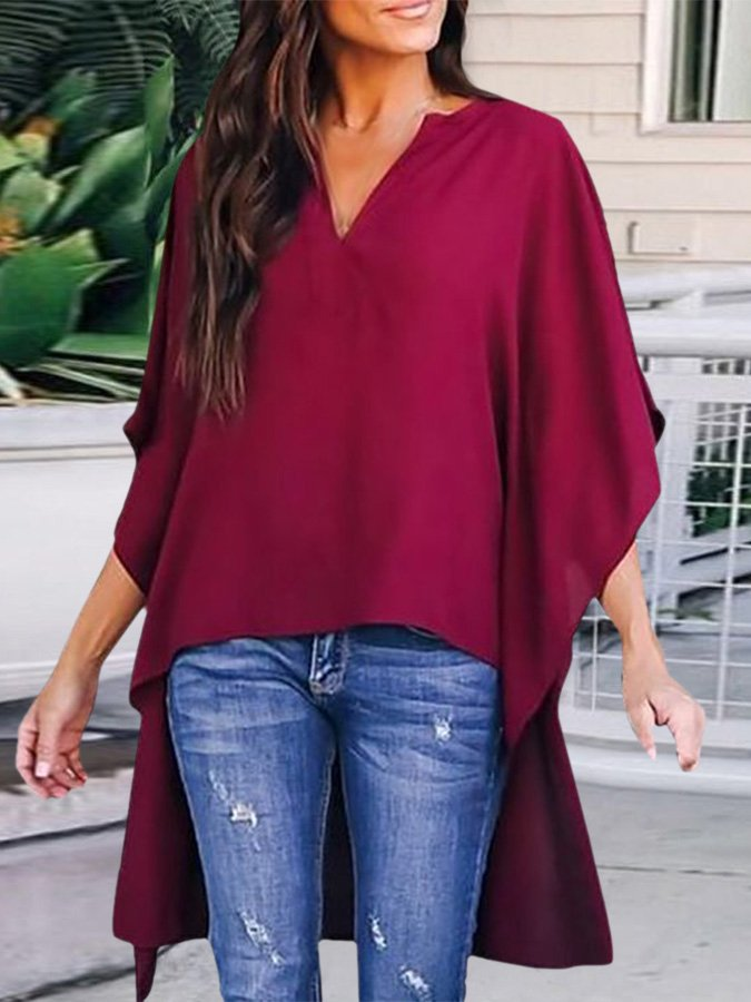 Irregular Front Short And Back Long Top
