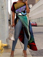 Multicolor Asymmetrical Abstract Round Neck Holiday Shirts & Tops