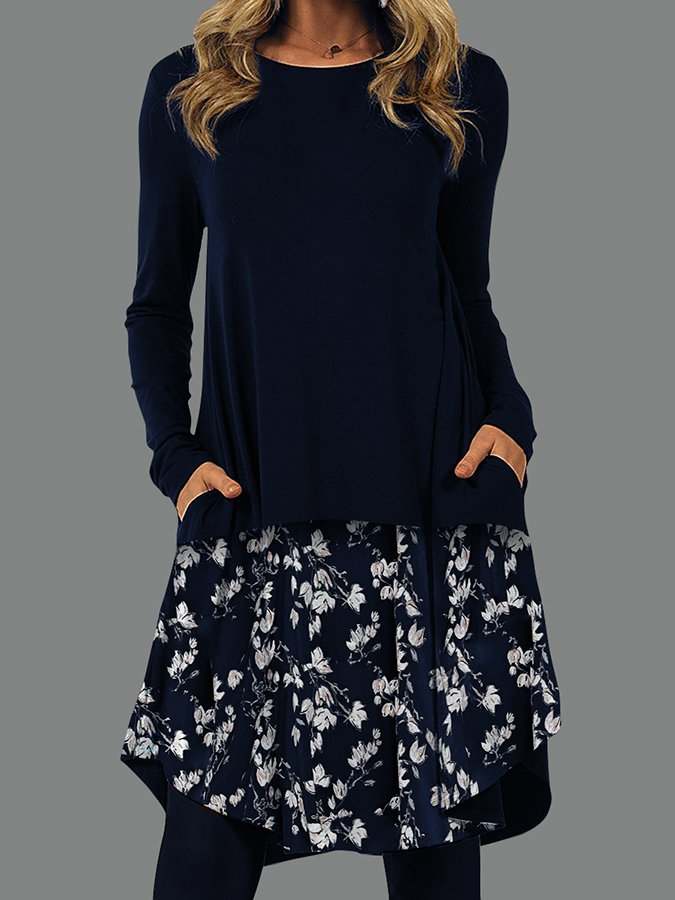 Pockets Shift Round Neck Long Sleeve Dresses
