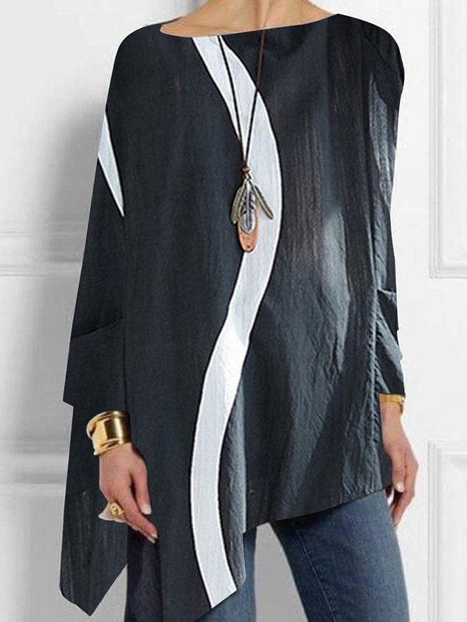 Long Sleeve Geometric Crew Neck Casual Shirts & Tops