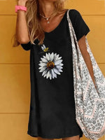 Short Sleeve Printed A-Line Dresses